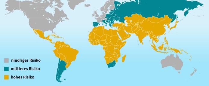 Risiko-Regionen weltweit an Durchfall zu erkranken