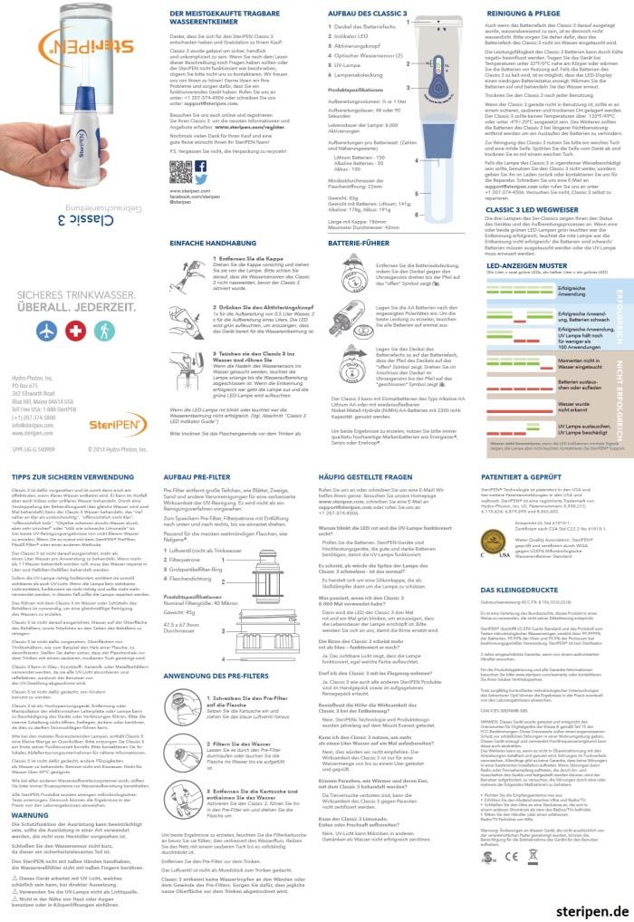 SteriPEN.de Classic Bedienungsanleitung Handbuch Anleitung Beschreibung User Manual