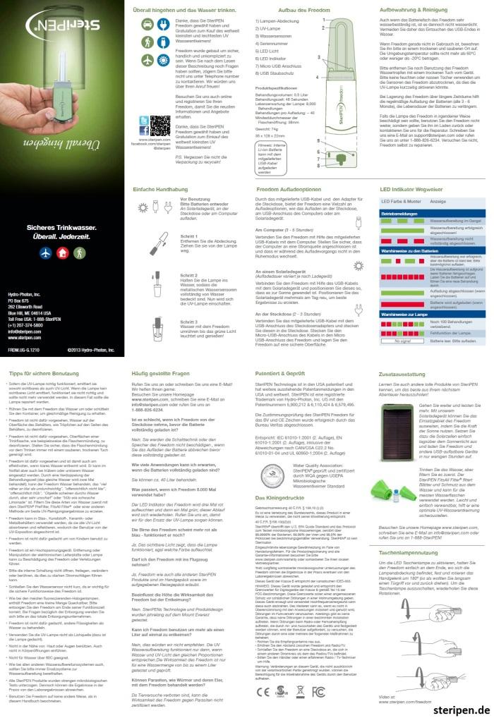 SteriPEN.de Freedom Bedienungsanleitung Handbuch Anleitung Beschreibung User Manual